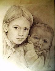 Frère et soeur, portrait.