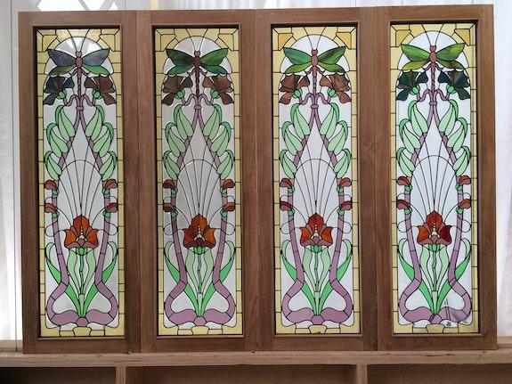 Série de 4 panneaux avec motif de papillion. Inconnu Malander