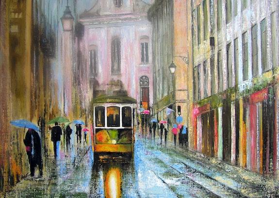 Scene de rue au portugal. B. Sannier Bernard Sannier