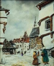 Village sous la neige.