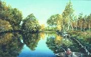 Pêcheur au bord de le rivière.