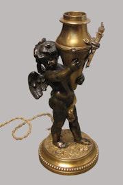 Pied de lampe en bronze, Charles Georges ferville suan (1847-1925).. Rue France