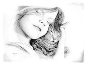 Mädchen mit Katze.