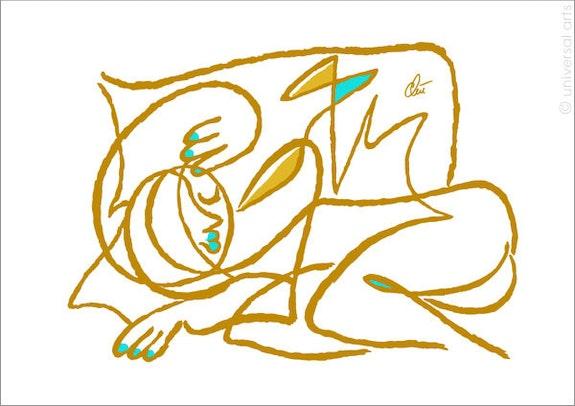 Oder schläft sie gar nicht ? Golden limitierte Original Grafik Jacqueline_Ditt. Jacqueline_Ditt Universal Arts Galerie Studio Gmbh