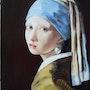 La jeune fille à la perle d'après Jan Vermeer. Colette Trôme