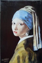 La jeune fille à la perle d'après Jan Vermeer.