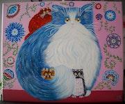 Peinture acrylique Chats Tendresse.