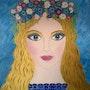 Portrait féminin, peinture acrylique Fille romantique. Oxana Mustafina