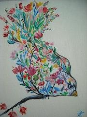 Peinture acrylique L'oiseau fleuri sur carton entoilé.
