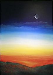 Sonnenuntergang mit Mond.