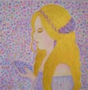 Peinture acrylique Portrait féminin romantiqueTendresse sur carton entoilé.