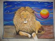 Lion au soleil couchant. Flodecar