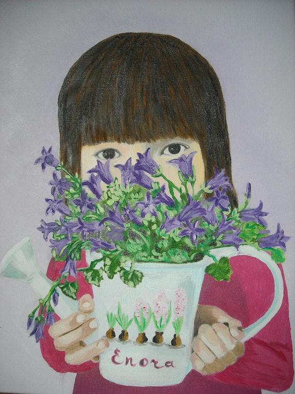 Peinture à l'huile La fille aux campanules. Oxana Mustafina Oxana Mustafina
