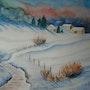 Aquarelle Paysage d'hiver. Oxana Mustafina