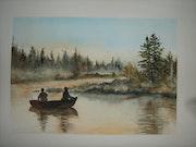 Pêcheurs sur la rivière Diable au Québec.