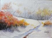 Couleurs d'automne sur fond de neige.