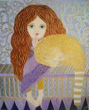 Peinture acrylique «Chut! Le chat dort! » Sur carton entoilé.