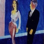 Woman in Gold and Silver Gown With Man. Weisburd Fine Art