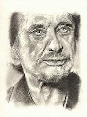 Johnny Hallyday, portrait au fusain 260615.