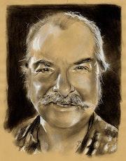 Pierre Vassiliu, portrait au fusain sur papier Kraft.