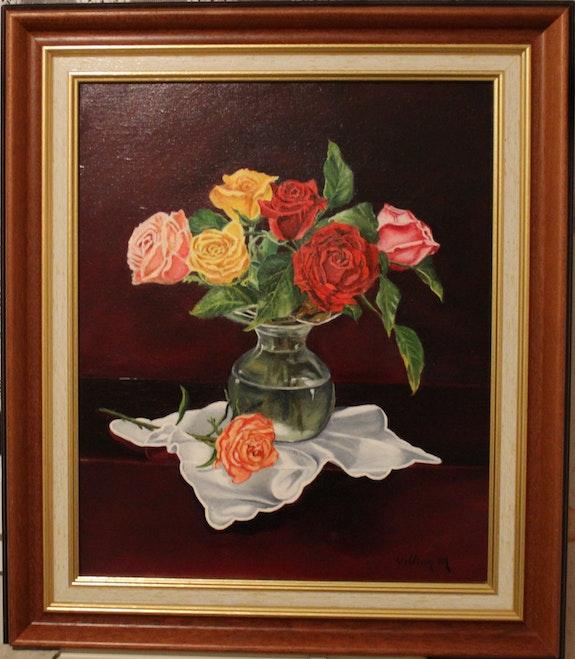Parfum de roses au vase.  Peint La Vie