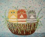Peinture acrylique Chats Tendresse sur toile.