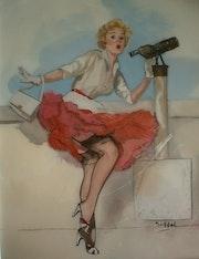 Peintures sous vere - les pin-up des années 50.