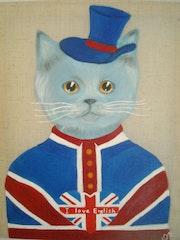 Peinture acrylique Chat Anglais sur toile de lin.