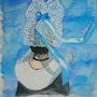 Aquarelle La bretonne dans sa coiffe en dentelle. Oxana Mustafina