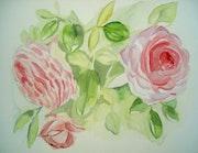 Aquarelle florale Les roses Shabby.