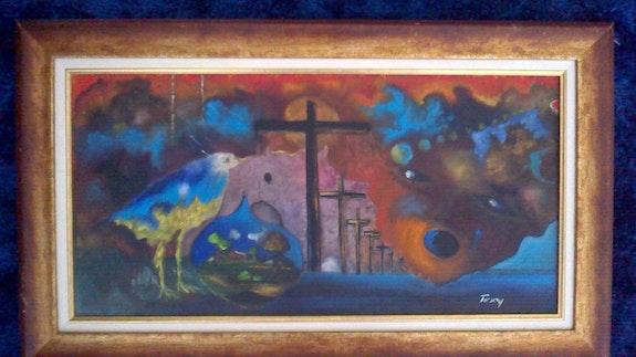 Oiseau bleu. Waking Jean Baptiste Haitian Art Gallery
