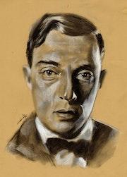 Buster Keaton, portrait au fusain sur papier Kraft - 050715.