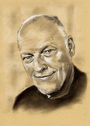 David Gilmour au fusain sur papier Kraft - 080715.