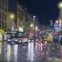 Rue du faubourg Saint-Antoine la nuit sous la pluie. Patrice Latger