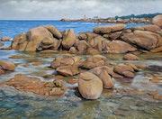 Côte de granite rose à Ploumanach'depuis la presqu'île de Renote.