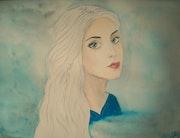 Aquarelle Portrait féminin «Fille aux yeux bleus et cheveux argentés».