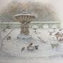 La fontaine de l'ange en hivers. Douceur Pastelle