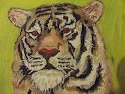 Portrait tigre a l'huile.