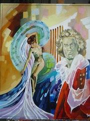 Musicien : Portrait de Beethoven et sa muse.