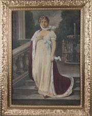 Gemälde Königin Luise von Preussen, Öl auf Leinwand, 19. Jhdt..
