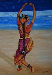Danseuse indienne. Peinture à l'huile..