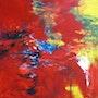 Liger, acrylique sur toile 100 / 100 cm. Hugues Roy