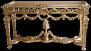 French Rococo style carved and gilded entrance console table.
