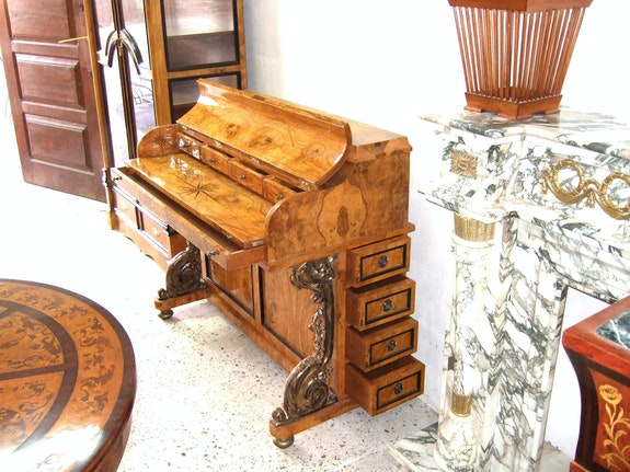 Charles X style olive root veneered Piano shape desk.  Azhary Antique Furniture Reproductions