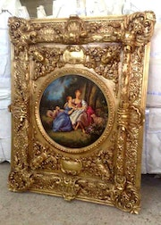 Large custom made painting with carved and gilded frame.