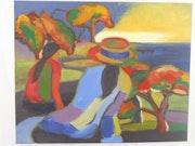 Peinture à l'huile «Soirée en bord de mer». Patricia Caillault