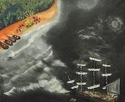 Vaisseau de guerre ancré non loin de la plage. Gilles Duguet