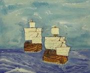 Deux coques en pleine mer. Gilles Duguet