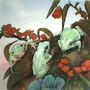 Peinture sous verre - les grenouilles.