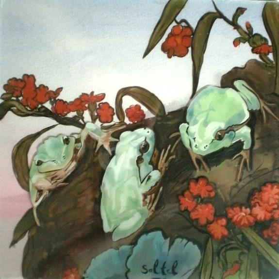 Peinture sous verre - les grenouilles. Annie Saltel Annie Saltel